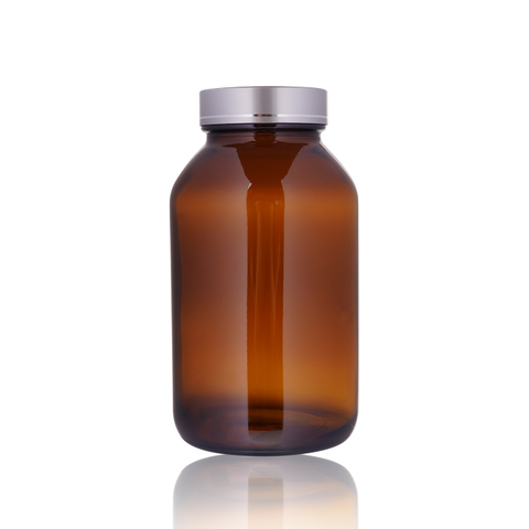 Frosted Cap Wide Mouth Glass Medicine Bottle